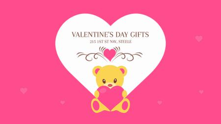 Ontwerpsjabloon van Full HD video van Teddy bear with Valentine's Day Heart
