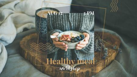 Woman holding meal with berries FB event cover – шаблон для дизайна