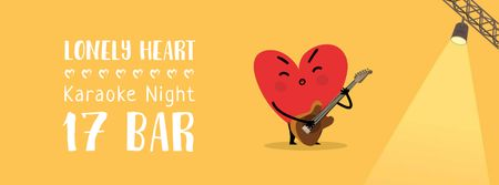 Heart playing Guitar on Valentine's Day Facebook Video cover Modelo de Design