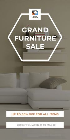 Furniture Sale Modern Interior in Light Colors Graphic Modelo de Design
