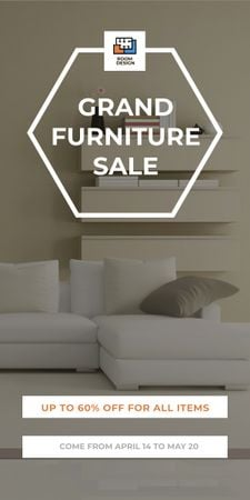 Ontwerpsjabloon van Graphic van Furniture Sale Modern Interior in Light Colors