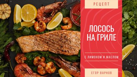 Seafood Recipe Fried Salmon and Shrimps Youtube Thumbnail – шаблон для дизайна