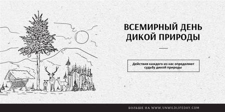 World Wildlife Day Event Announcement with Nature Drawing Twitter – шаблон для дизайна