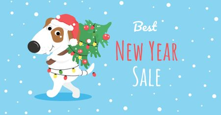 Template di design New Year Sale with Funny Dog in Garland Facebook AD