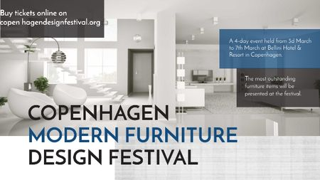 Ontwerpsjabloon van Title van Furniture Festival ad with Stylish modern interior in white