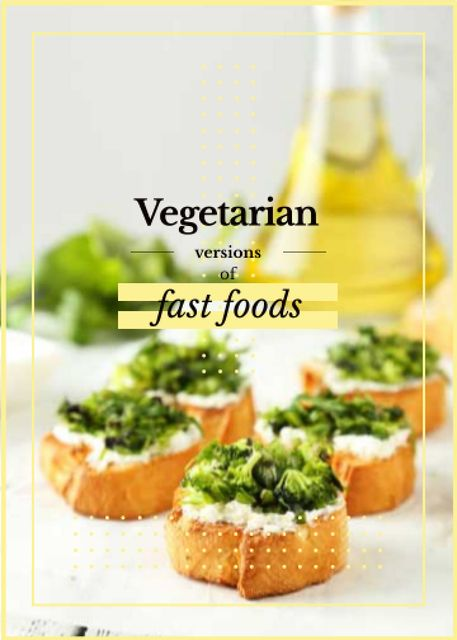 Template di design Vegetarian Food Recipes Bread with Broccoli Flayer