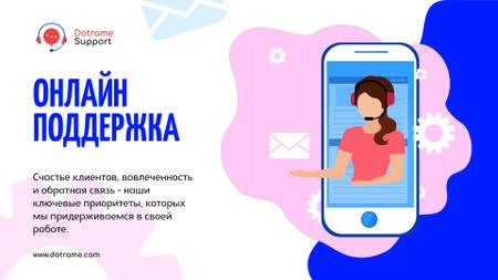 Online Customers Support Consultant on Phone Screen Full HD video – шаблон для дизайна