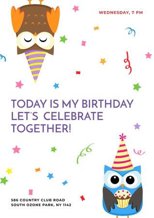 Designvorlage Birthday party Invitation with cute Owls für Poster