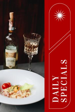 Plantilla de diseño de Tasty Dish on Table with Wine Pinterest