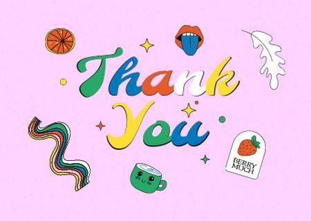 Plantilla de diseño de Thankful Phrase with Bright Stickers Card