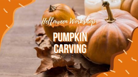 Halloween Workshop Announcement with Pumpkins FB event cover – шаблон для дизайна