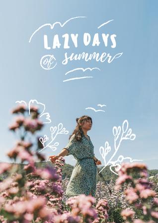 Plantilla de diseño de Summer Inspiration with Girl in Flower Field Poster