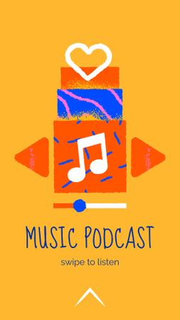 Szablon projektu Music Podcast Announcement with Note Illustration Instagram Video Story
