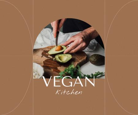 Ontwerpsjabloon van Facebook van Vegan Kitchen Concept with Man cutting Avocado
