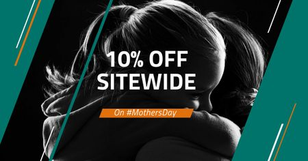 Mother's Day Discount Offer with Daughter hugging Mother Facebook AD Modelo de Design