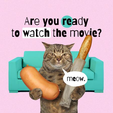 Designvorlage Funny Cat holding Baguette and Huge Sausage für Instagram