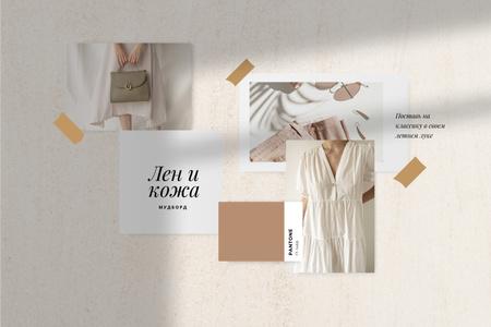 Stylish Girl in linen clothes Mood Board – шаблон для дизайна