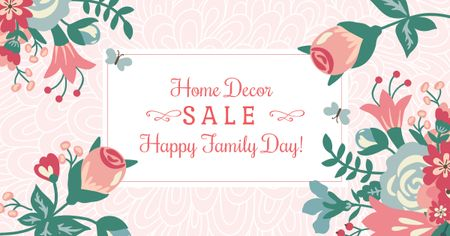 Home decor Sale with Flowers on Family Day Facebook AD – шаблон для дизайну