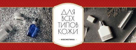 Skincare Offer with Cosmetics Bottles Facebook cover – шаблон для дизайна