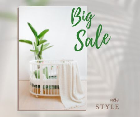 Ontwerpsjabloon van Medium Rectangle van Sale Offer Announcement with Cot in Cozy Nursery