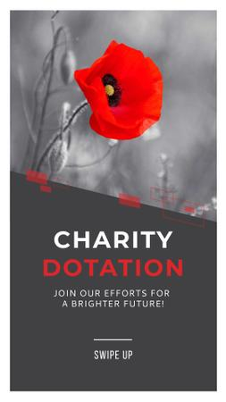 Template di design Charity Ad with Red Poppy Illustration Instagram Story