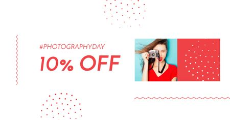 Photography Day with Attractive Woman holding Camera Facebook AD – шаблон для дизайна