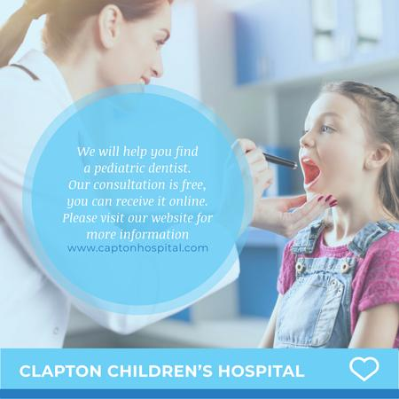 Children's hospital with Pediatrician examining Girl Instagram Modelo de Design