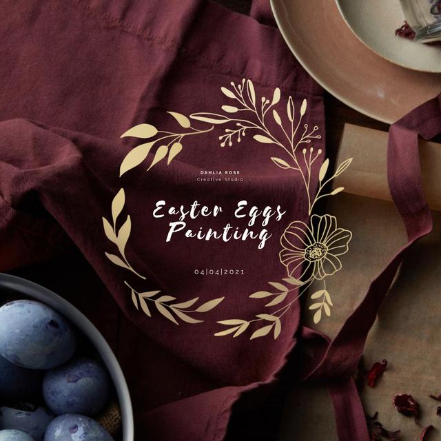 Coloured Easter eggs with Golden Wreath Animated Post Modelo de Design