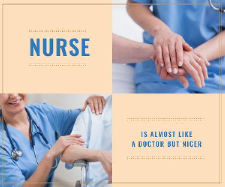 Nurse Caring About Patient Medium Rectangle Modelo de Design
