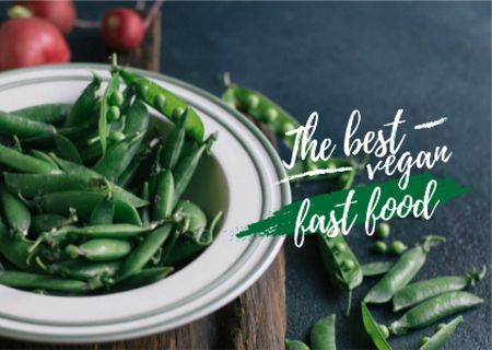 Modèle de visuel Vegan fast food Ad with peas - Card