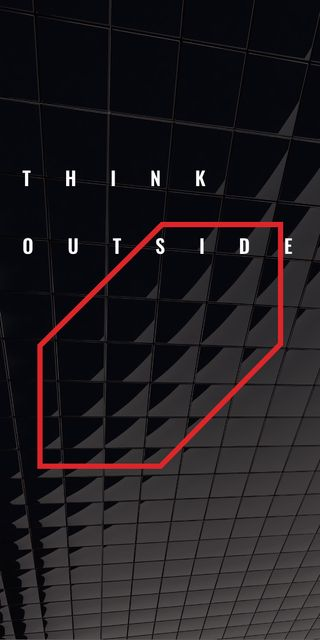 Think outside the box Quote on black tiles Graphicデザインテンプレート