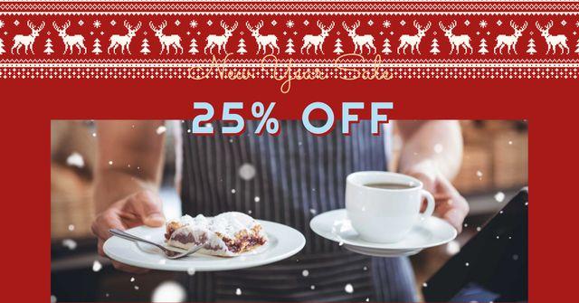 Plantilla de diseño de New Year Sale with Sweet Dessert Facebook AD