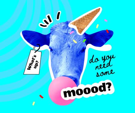 Szablon projektu Funny Cow with Ice Cream Waffle Cone Facebook