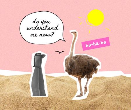 Funny Ostrich talking with Female Legs Facebook Modelo de Design