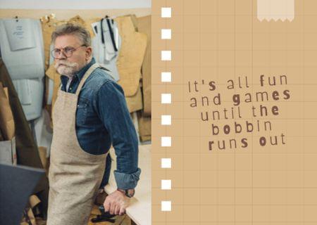 Inspirational Phrase with Man in Workshop Card – шаблон для дизайна