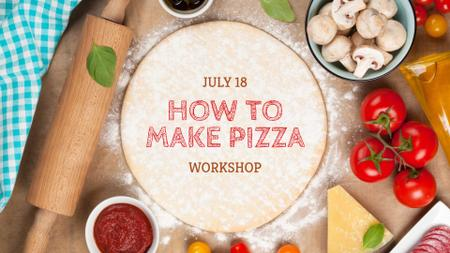 Workshop promotion with Pizza ingredients FB event cover – шаблон для дизайна