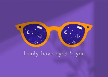 Ontwerpsjabloon van Card van Love Phrase with Cute Glasses with Cosmic Lens