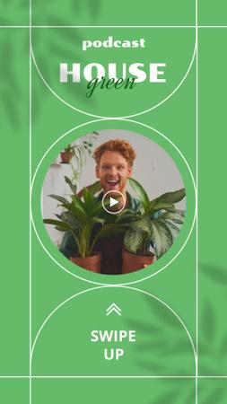 Modèle de visuel Podcast Announcement with Man holding Houseplants - Instagram Story