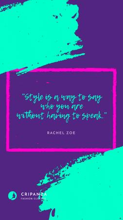 Designvorlage Fashion Quote in Geometric Frame in Blue für Instagram Video Story