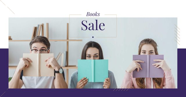 Books Sale Offer with Funny Students Facebook AD – шаблон для дизайну