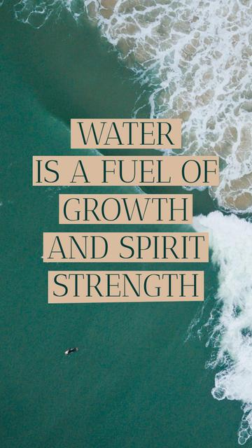 Szablon projektu Citation about Water with Ocean Waves Instagram Story
