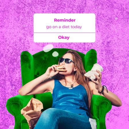 Modèle de visuel Funny Joke about Diet with Woman eating Fast Food - Animated Post