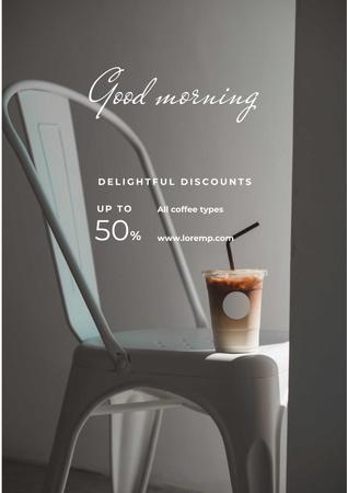 Ontwerpsjabloon van Poster van Cup with Latte for good morning