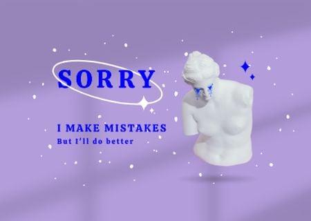 Plantilla de diseño de Cute Apology with Crying Antique Statue Card