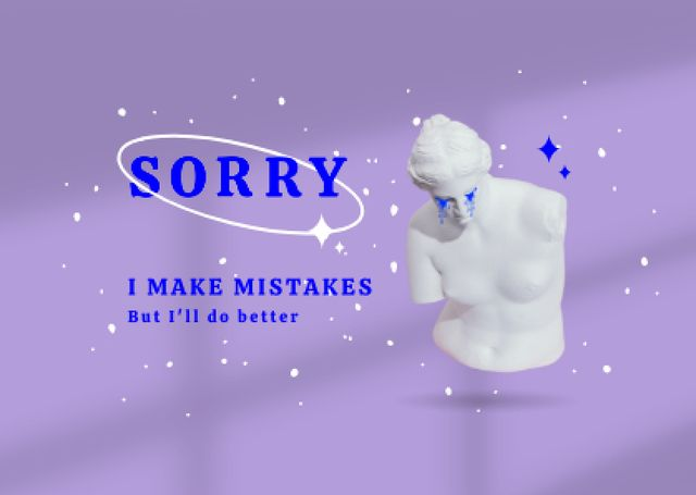 Cute Apology with Crying Antique Statue Cardデザインテンプレート