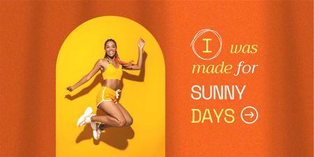 Summer Inspiration with Cute jumping Woman Twitter Design Template