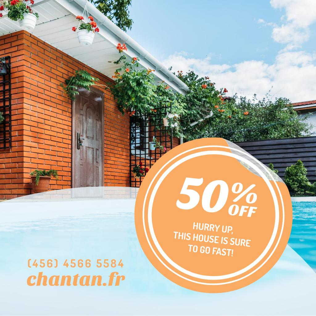 Real Estate Ad with Pool by House Instagram ADデザインテンプレート