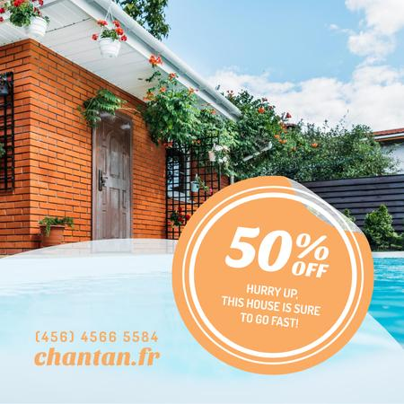 Plantilla de diseño de Real Estate Ad with Pool by House Instagram AD