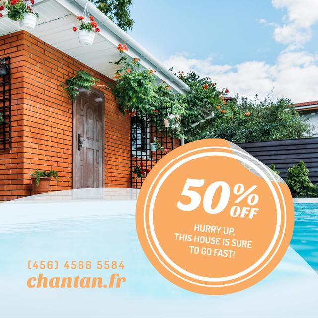 Template di design Real Estate Ad with Pool by House Instagram AD