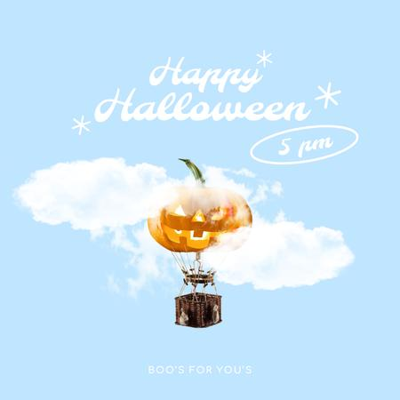 Halloween Greeting with Flying Pumpkin in Clouds Animated Post – шаблон для дизайна